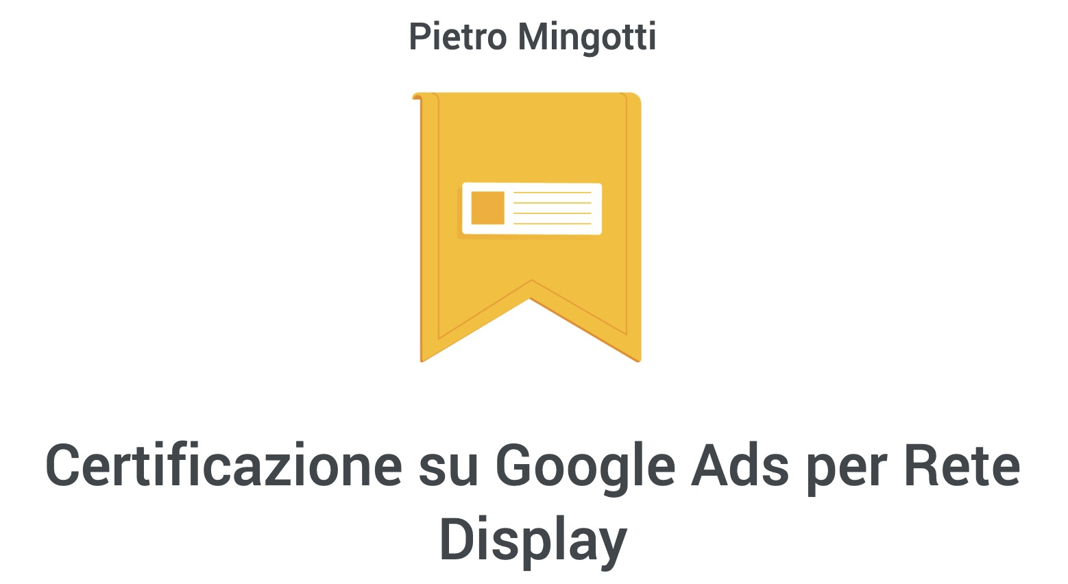 Pietro Mingotti Certificazioni Display