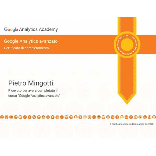Pietro Mingotti Certificato Analytics