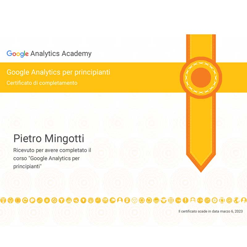 Pietro Mingotti Certificazioni Google Analytics